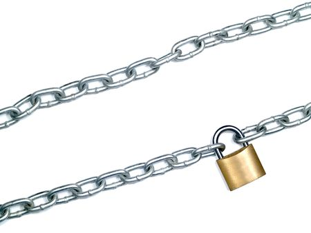 Lock and steal chain isolated over white. photo