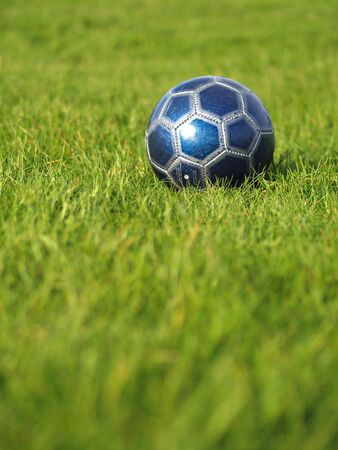A blue soccer ball on a field of green grass on a bright, sunny day Stock Photo - 5000251