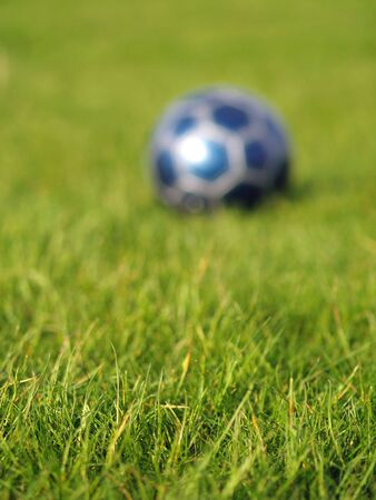 A blue soccer ball on a field of green grass on a bright, sunny day Stock Photo - 5000246