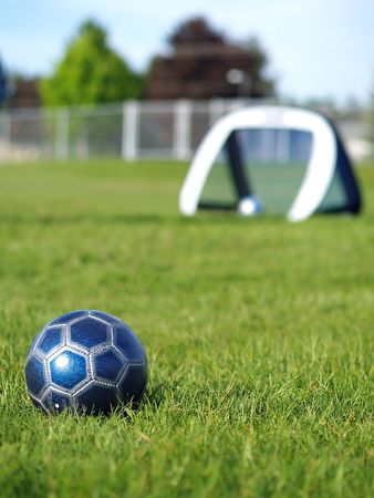A blue soccer ball on a field of green grass on a sunny day with the goal in the background. Stock Photo - 5000248