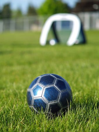 A blue soccer ball on a field of green grass on a sunny day with the goal in the background. Stock Photo - 5000249