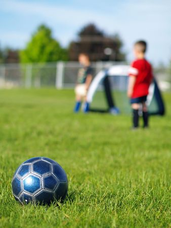 A blue soccer ball on field of green grass on a sunny day with kids in the background. Stock Photo - 5000244