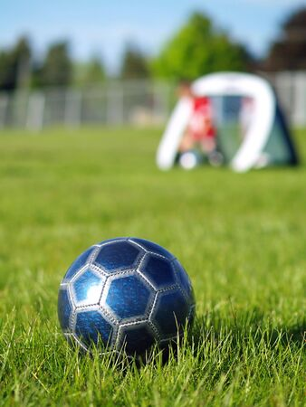 A blue soccer ball on field of green grass on a sunny day with kids in the background. Stock Photo - 5000250