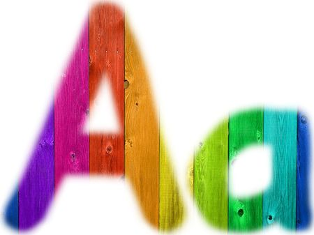 rainbow background: The letter A with a wooden rainbow background Stock Photo