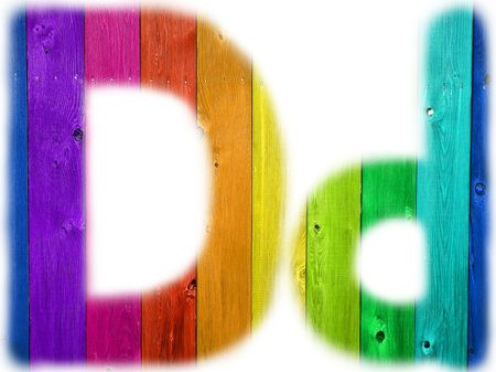 The letter D with a wooden rainbow background