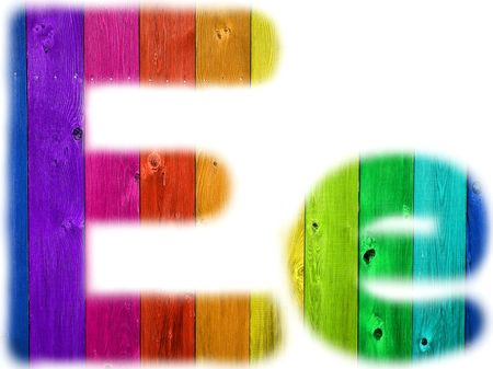 The letter E with a wooden rainbow background
