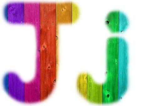 De letter J met een houten regenboog achtergrond Stockfoto