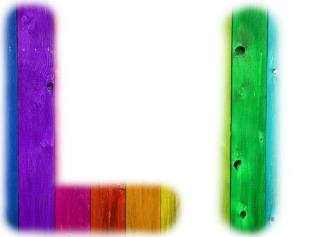 rainbow background: The letter L with a wooden rainbow background Stock Photo