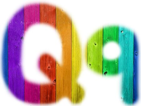 rainbow background: The letter Q with a wooden rainbow background