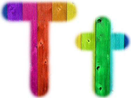 De letter T met een houten regenboog achtergrond Stockfoto