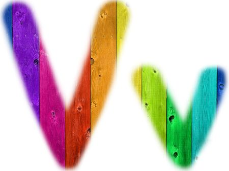 rainbow background: The letter V with a wooden rainbow background