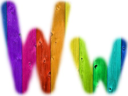rainbow background: The letter W with a wooden rainbow background