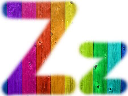 De letter Z met een houten regenboog achtergrond Stockfoto