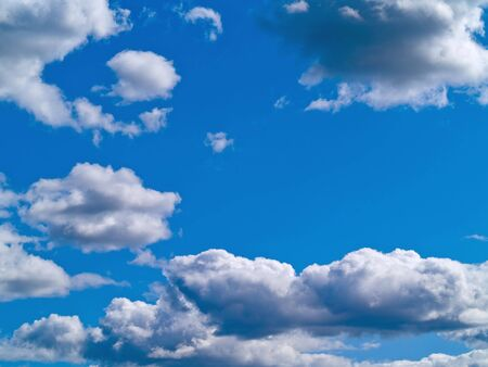 White and gray clouds in a blue sky Stock Photo