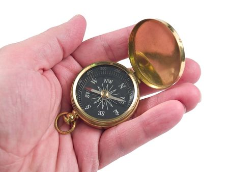 orienting: Hand holding compass isolated on white