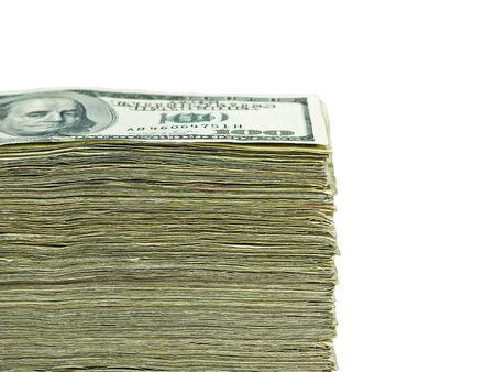 Pile de toile de fond de monnaie des �tats-Unis - centaines billets de dollars  Banque d'images