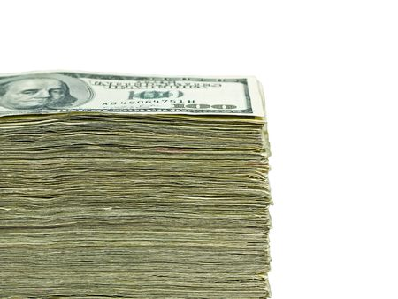 Stack of United States currency background - hundred dollar bills photo