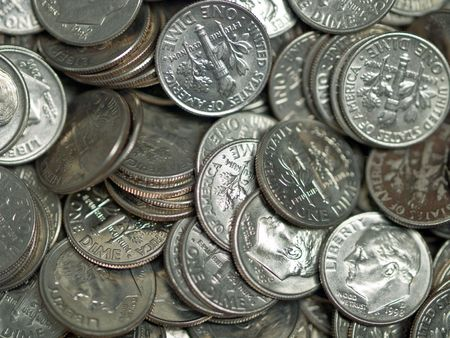 Pile of United States Coins Silver Dimes photo