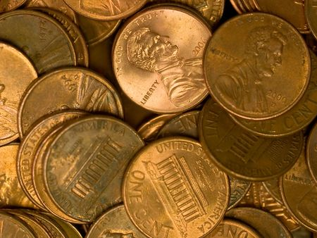 Pile of United States Coins Copper Pennies photo