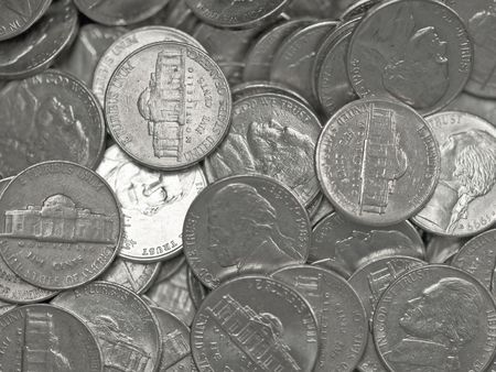 Pile of United States Coins Silver Nickles photo