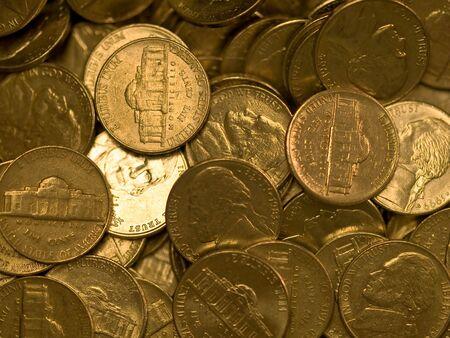 Palplanche des États-Unis coins plaqué Nickles  Banque d'images - 6271666