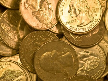 Pile of United States Coins Goldtone Quarters photo