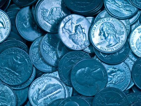 Pile of United States Coins Bluetone Quarters photo