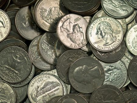 Pile of United States Coins Silver Quarters photo