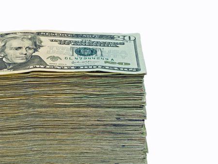 Stack of United States currency background - twenty dollar bills photo