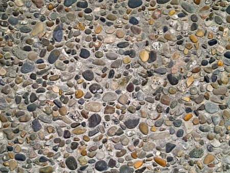 wall textures: Concrete wall made of small river rocks