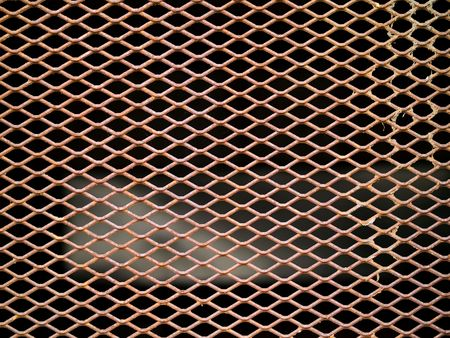 metal grate: Rusted metal grate securing a tunnel hole