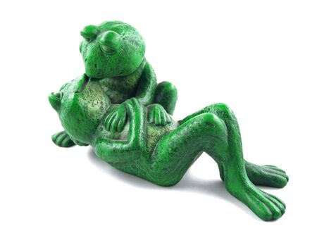 Two Green Frogs in a Romantic Embrace Statue photo