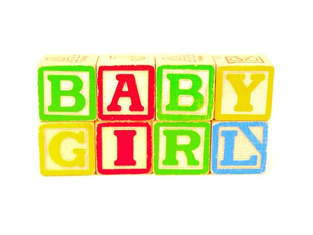 Colorful Alphabet Blocks Spelling the Words BABY GIRL Stock Photo