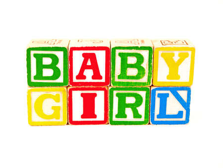 xyz: Colorful Alphabet Blocks Spelling the Words BABY GIRL Stock Photo