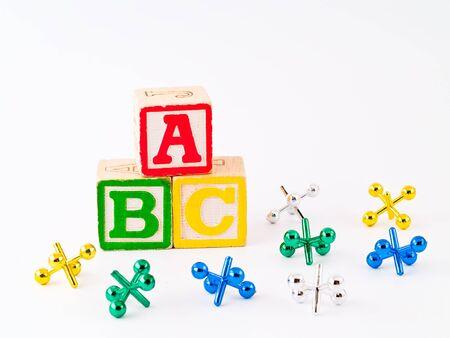 Colorful Alphabet Blocks ABC and Jacks as a Childrens Theme