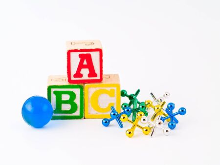 Colorful Alphabet Blocks ABC and Jacks as a Childrens Theme Stock Photo - 7201194