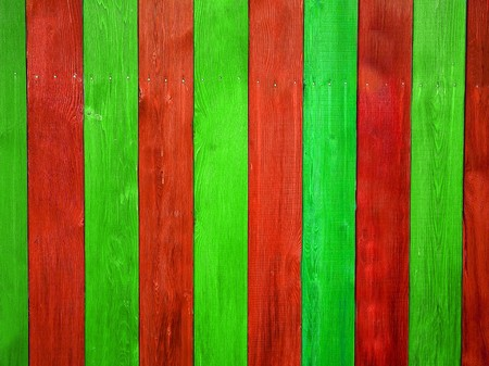 Christmas Colored Wooden Fence Board Suitable for Backgrounds Foto de archivo