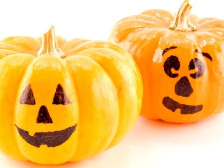 Mini Jack-o-Lanterns Isolated on a White Background photo