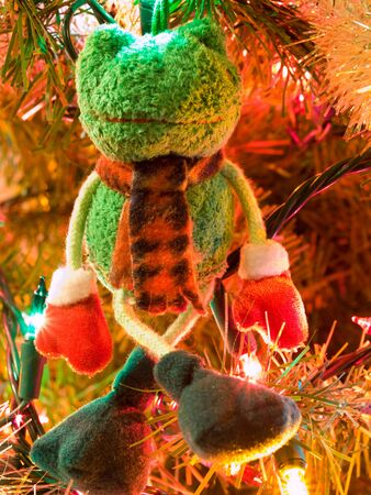 christmas frog: Christmas Tree Holiday Ornaments Hanging on a Tree