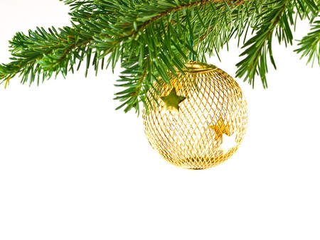 Christmas Tree Holiday Ornament Hanging from a Evergreen Branch Isolated Stock Photo - 7948465