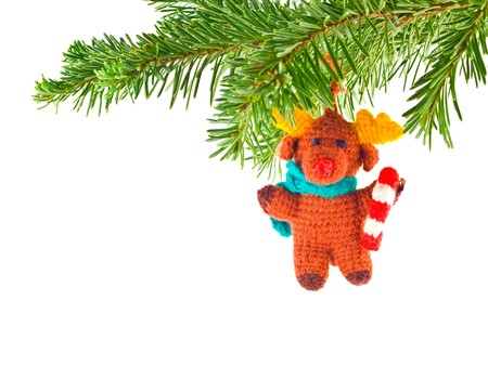 Christmas Tree Holiday Ornament Hanging from a Evergreen Branch Isolated Stock Photo - 7948466