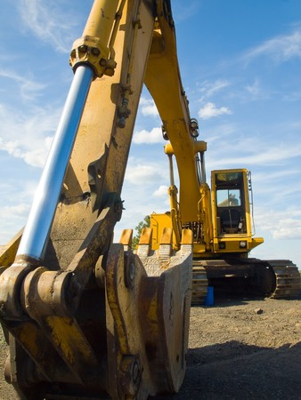 heavy industry: Heavy Duty Construction Equipment Parked at Worksite