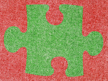 Denim Fabric in Christmas Colors Forming a Puzzle Frame photo