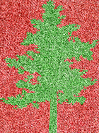 Denim Fabric in Christmas Colors Forming a Tree Frame photo