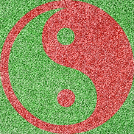 Denim Fabric in Christmas Colors Forming a Ying and Yang photo