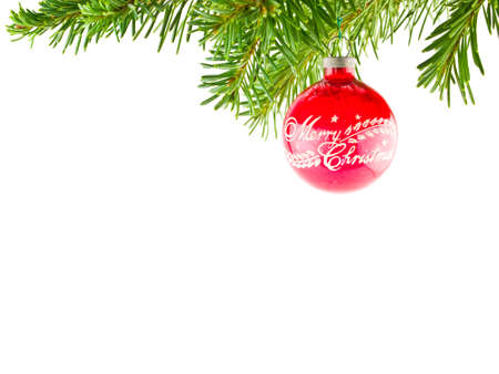decorating christmas tree: Christmas Tree Holiday Ornament Hanging from a Evergreen Branch Isolated Stock Photo