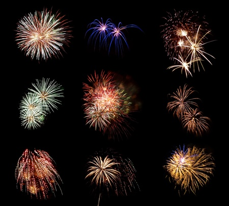 compilation: Compilation of Fireworks Against a Black Sky Stock Photo