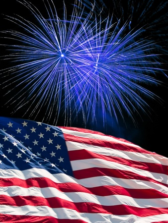 The American Flag and Blue Fireworks from Independence Day Stock Photo - 8533649
