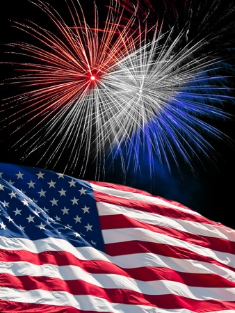 The American Flag and Red White and Blue Fireworks from Independence Day Foto de archivo