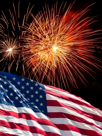 fourth of july: The American Flag and Fireworks from Independence Day